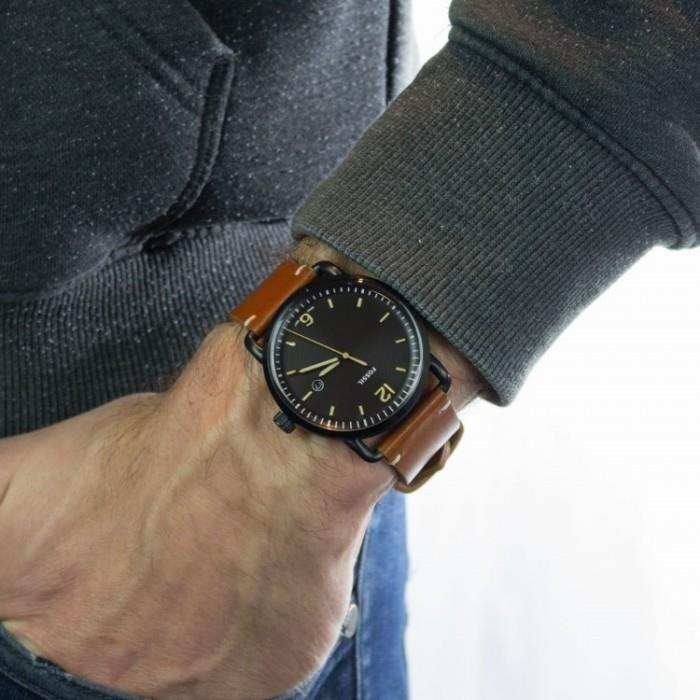 zegarek męski klasyczny czarny fossil